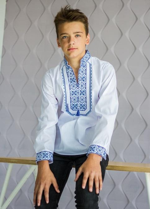 Вишиванка для хлопчика Капрал підліток (біла з синім) – купити в УкраїнівідГаличанка фото 1
