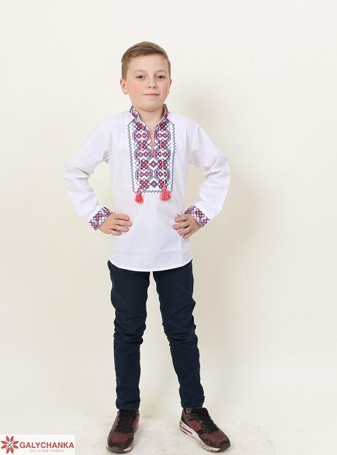 Вишиванка для хлопчика Легенда (біла з червоним) – купити в УкраїнівідГаличанка фото 1