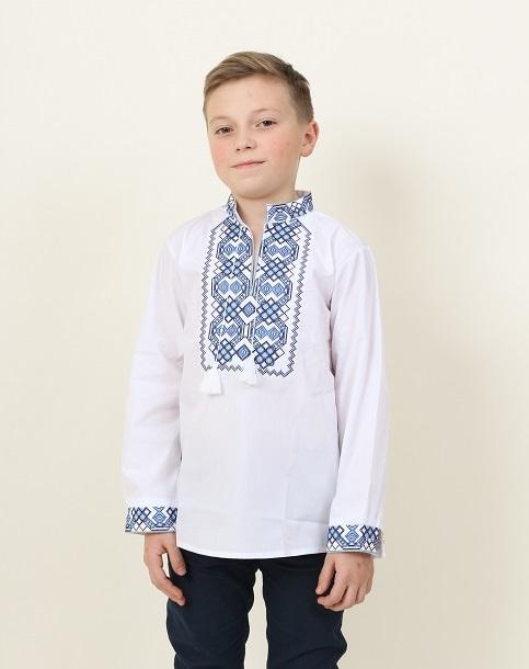 Вишиванка для хлопчика Легенда (біла з синім) – купити в УкраїнівідГаличанка фото 1