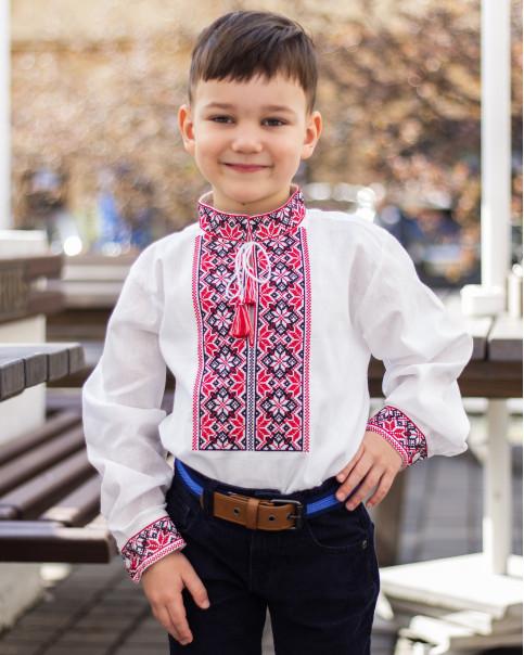 Вишиванка для хлопчика Левко бязь (біла з червоним) – купити в УкраїнівідГаличанка фото 1