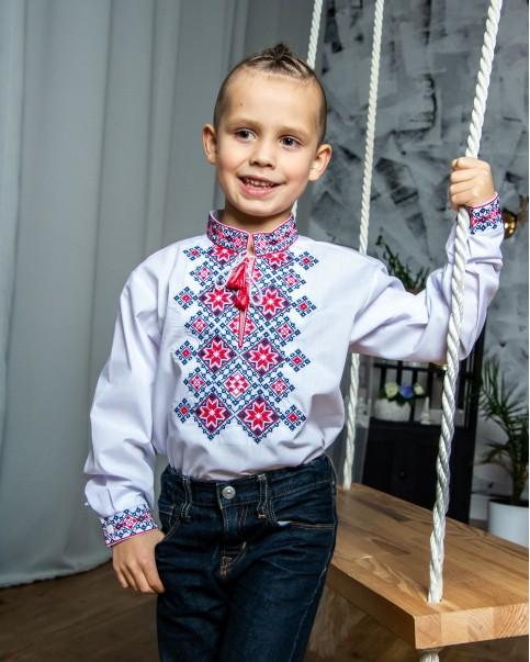 Вишиванка для хлопчика Марко бязь (біла з червоним) – купити в УкраїнівідГаличанка фото 1