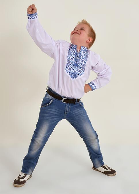Вишиванка для хлопчика Підполковник плюс (біла з синім) – купити в УкраїнівідГаличанка фото 1