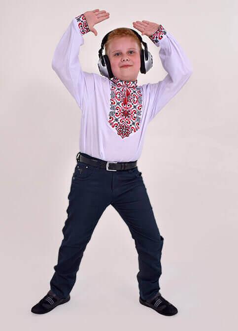 Вишиванка для хлопчика Підполковник плюс (біла з червоним) – купити в УкраїнівідГаличанка фото 1