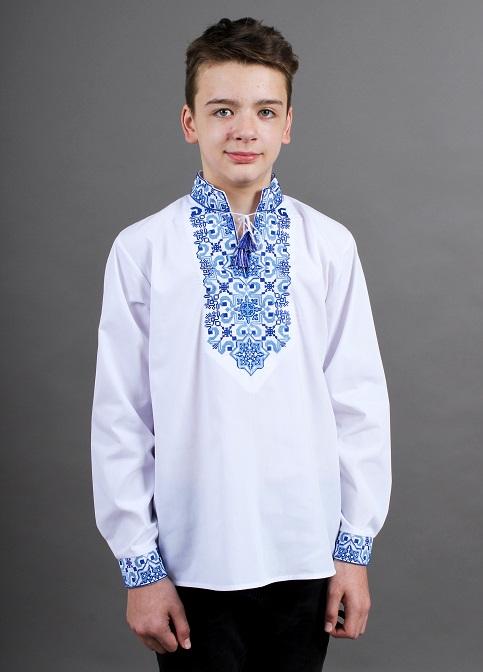 Вишиванка для хлопчика Полковник підліток (біла з синім) – купити в УкраїнівідГаличанка фото 1