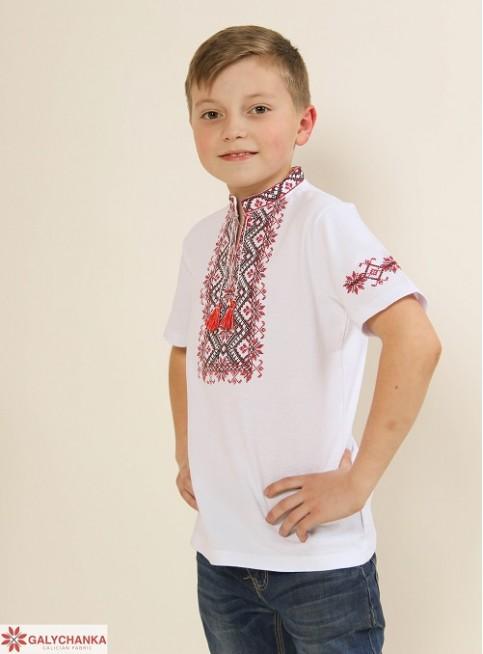 Купити вишиту футболку для хлопчика Зорянчик (біла з червоним) – ціна від виробника Галичанка фото 1