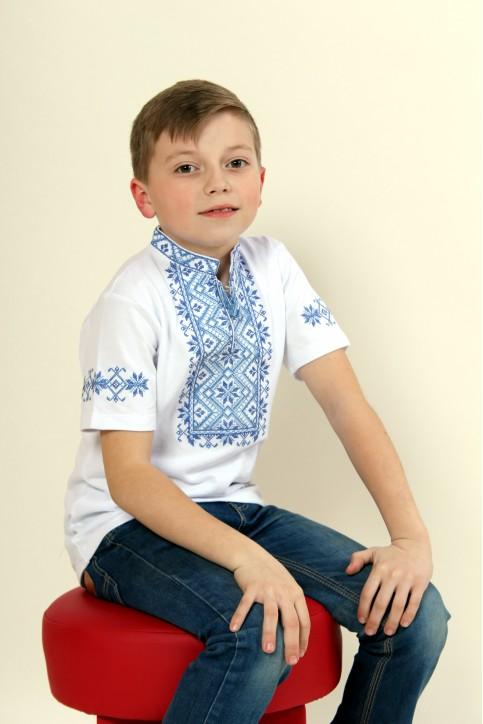 Купити вишиту футболку для хлопчика Зорянчик (біла з синім) – ціна від виробника Галичанка фото 1