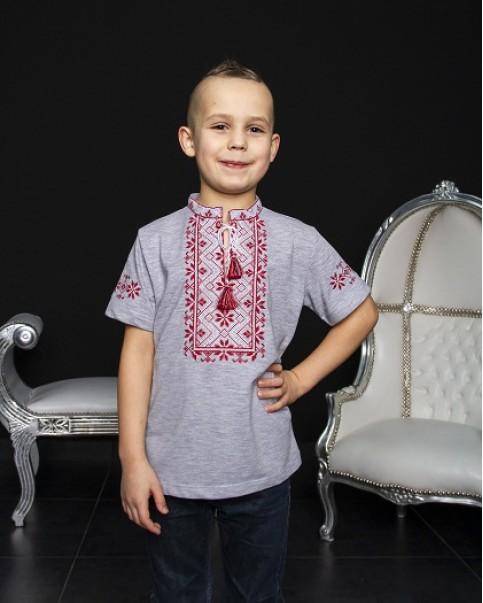 Купити вишиту футболку для хлопчика Зорянчик (сіра з червоно-білим) – ціна від виробника Галичанка фото 1