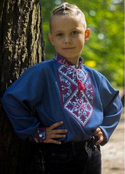 Вишиванка для хлопчика Говерла хлопчик (джинс голубий з червоно-білим) – купити в УкраїнівідГаличанка фото 1
