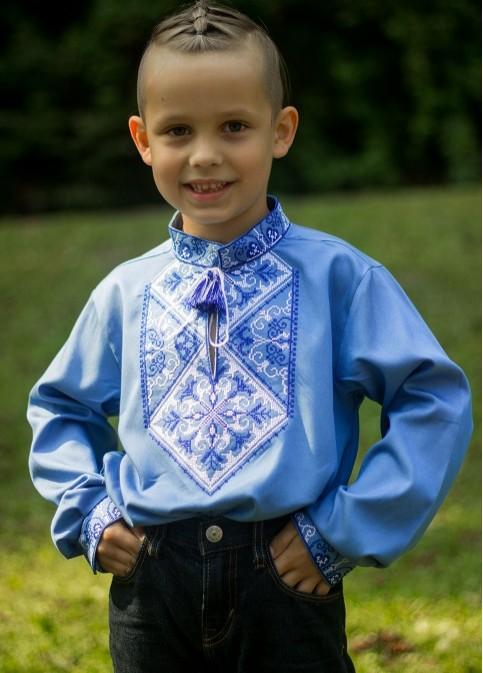 Вишиванка для хлопчика Говерла хлопчик (джинс голубий з синьо-білим) – купити в УкраїнівідГаличанка фото 1