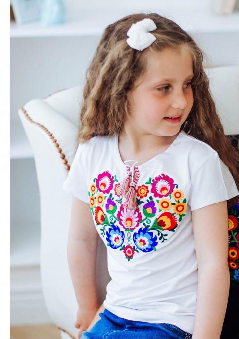 Вишита футболка для дівчинки Семицвіт (біла) – ціна від виробника Галичанка фото 1