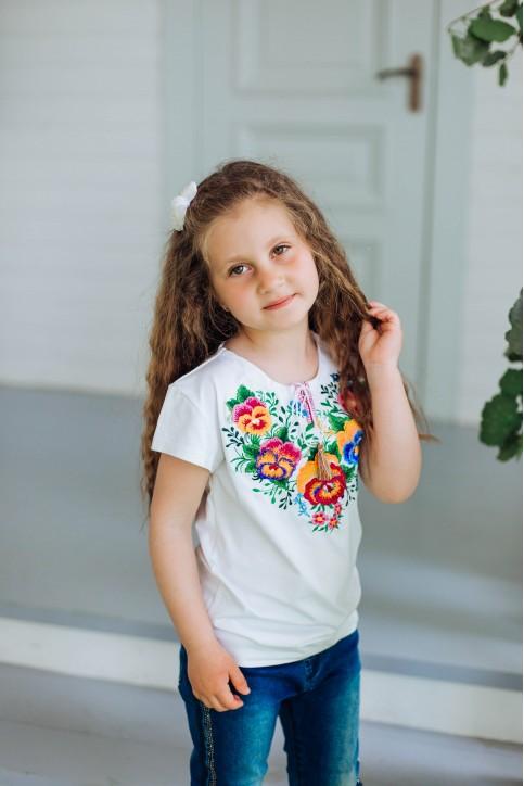 Вишита футболка для дівчинки  Ясочка (біла) – ціна від виробника Галичанка фото 1