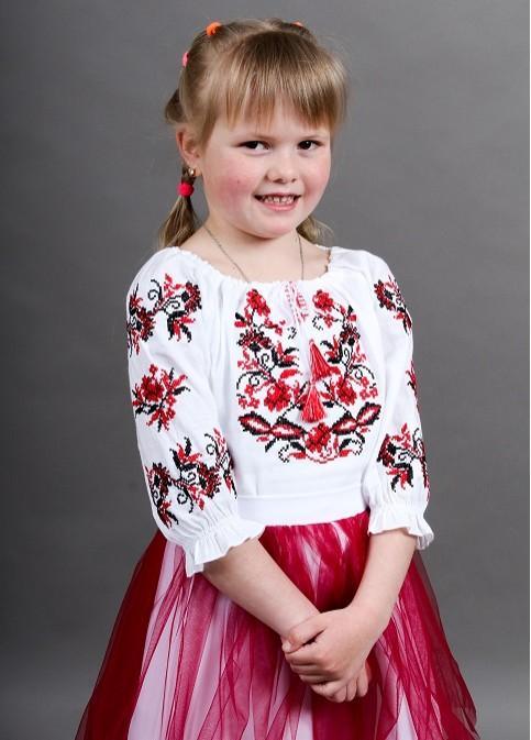 Купити вишите дитяче плаття Іваничка сорочкова (біла з червоним) – ціна від виробника Галичанка фото 1