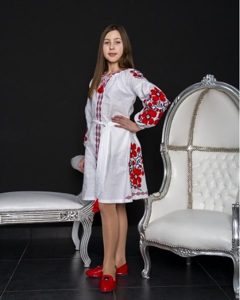 Купити вишите дитяче плаття Квіти Праги (біла з червоним) – ціна від виробника Галичанка фото 1