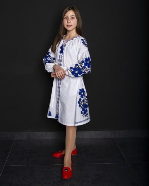 Купити вишите дитяче плаття Квіти Праги (біла з синім) – ціна від виробника Галичанка фото 1