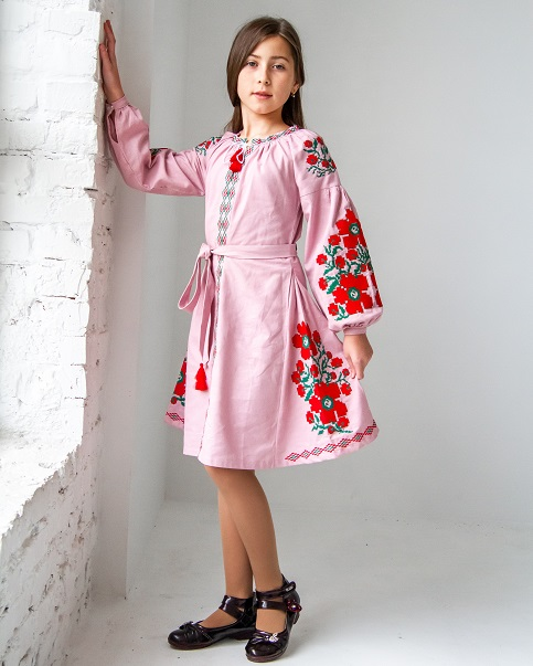 Купити вишите дитяче плаття Квіти Праги рожева з зеленим – ціна від виробника Галичанка фото 1