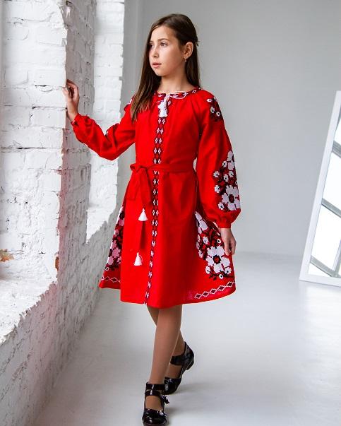 Купити вишите дитяче плаття Квіти Праги червона з чорним – ціна від виробника Галичанка фото 1