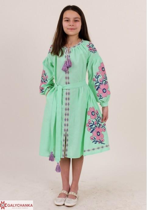 Купити вишите дитяче плаття Квіти Праги (ментол) – ціна від виробника Галичанка фото 1