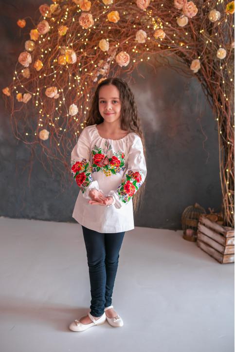 Вишиванка для дівчинки Лада бязь (біла) – купити в Україні від Галичанка фото 1