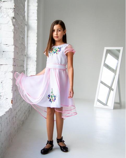 Купити вишите дитяче плаття Лея (білий з рожевим) – ціна від виробника Галичанка фото 1