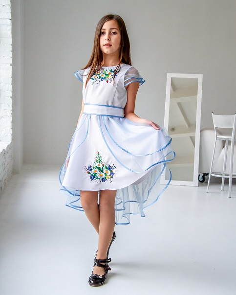 Купити вишите дитяче плаття Лея (біла з голубим) – ціна від виробника Галичанка фото 1