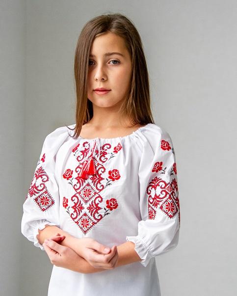 Вишиванка для дівчинки Марічка (білий з червоним) – купити в Україні від Галичанка фото 1