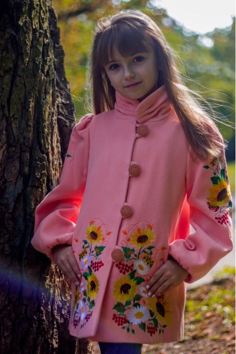 Купити пальто для дівчинки Метелик (персик) в Україні від Галичанка фото 1