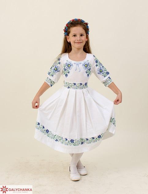 Купити вишите дитяче плаття Польові ромашки (білий) – ціна від виробника Галичанка фото 1