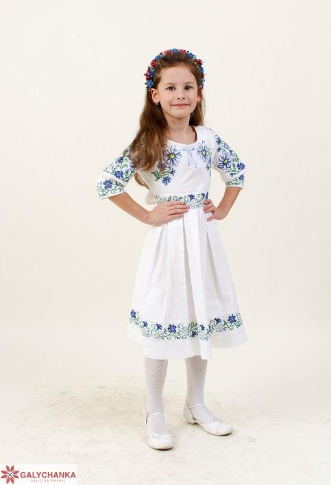 Купити вишите дитяче плаття Польові ромашки (льон білий) – ціна від виробника Галичанка фото 1