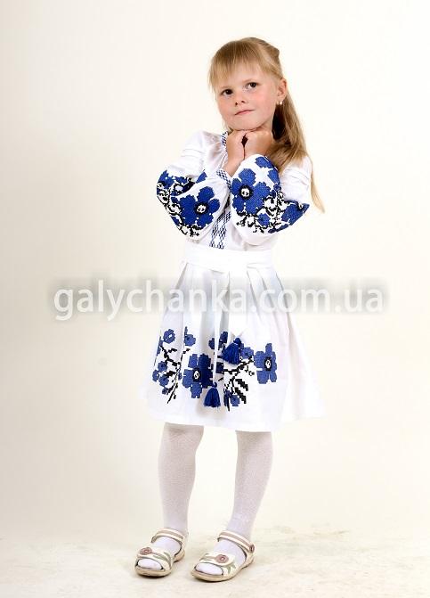 Купити вишите дитяче плаття Празькі квіточки (білий) – ціна від виробника Галичанка фото 1