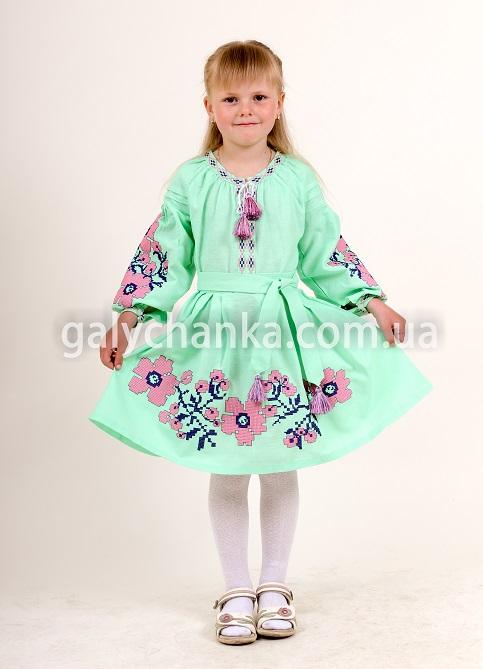 Купити вишите дитяче плаття Празькі квіточки (ментол) – ціна від виробника Галичанка фото 1