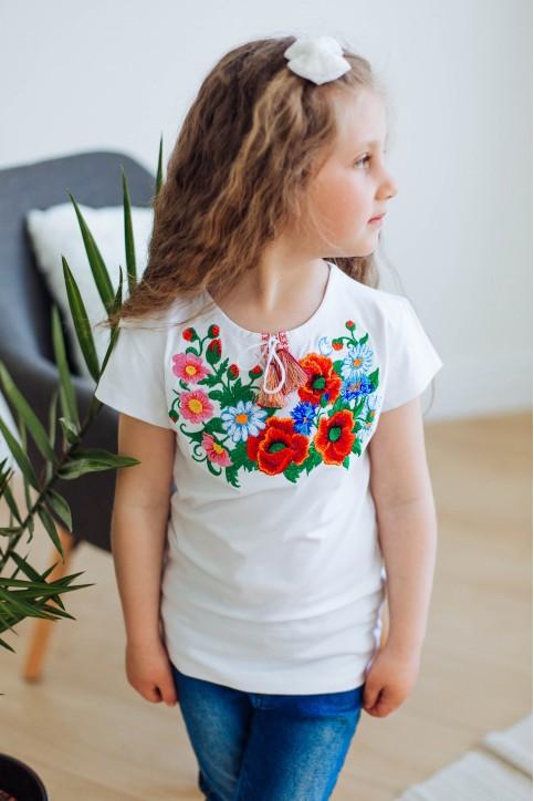 Вишита футболка для дівчинки Серденько – ціна від виробника Галичанка фото 1