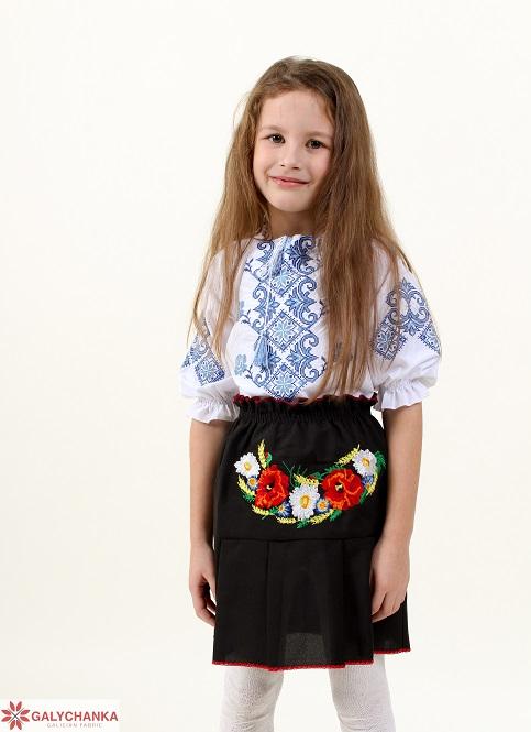 Купити дитячу спідницю до вишиванки Стежинка (чорний) в Україні від Галичанка фото 1