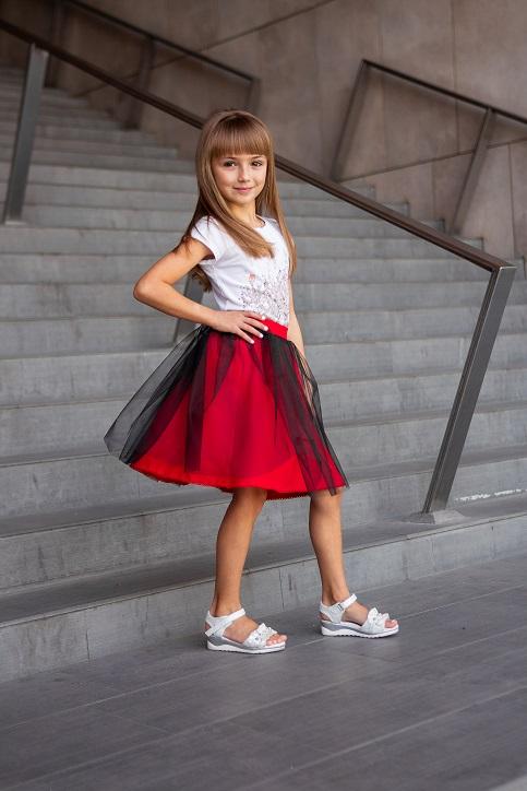Купити дитячу спідницю до вишиванки Веронічка (червона з чорним) в Україні від Галичанка фото 1