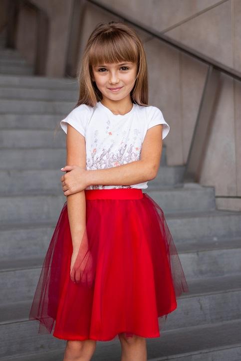 Купити дитячу спідницю до вишиванки Веронічка  з сіткою червона  в Україні від Галичанка фото 1