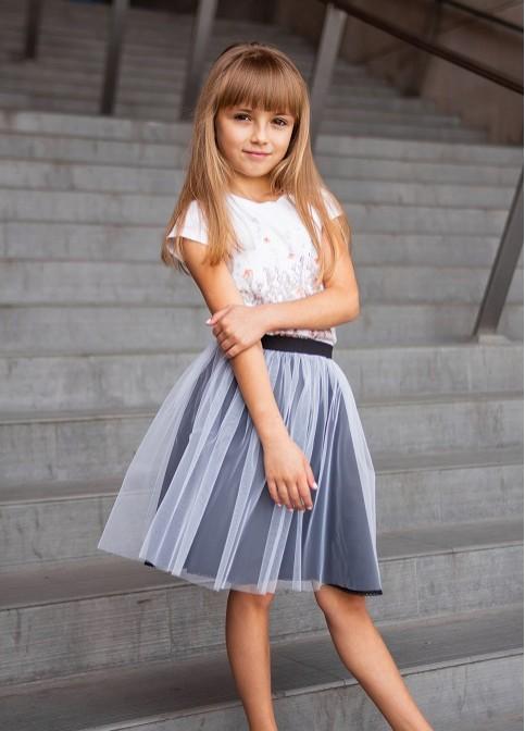Купити дитячу спідницю до вишиванки Веронічка (чорна з білим) в Україні від Галичанка фото 1