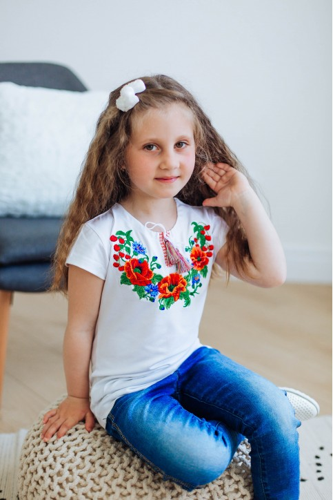 Вишита футболка для дівчинки Вишенька – ціна від виробника Галичанка фото 1