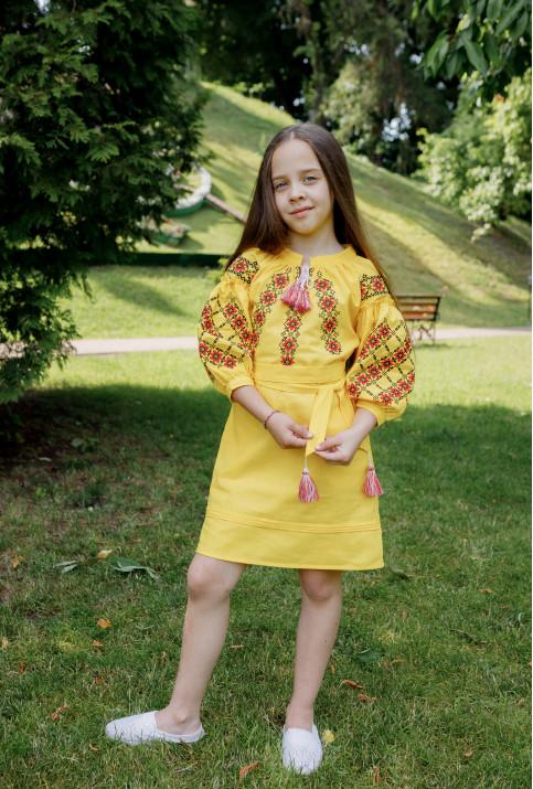 Купити вишите дитяче плаття Дзвінка (жовта) – ціна від виробника Галичанка фото 1