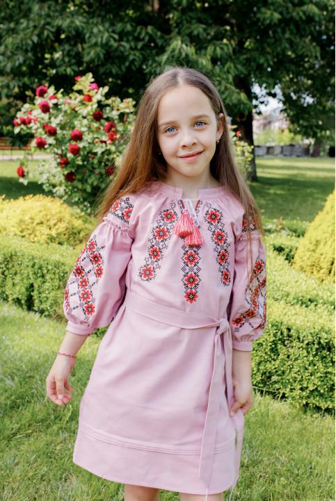 Купити вишите дитяче плаття Дзвінка (пудра) – ціна від виробника Галичанка фото 1