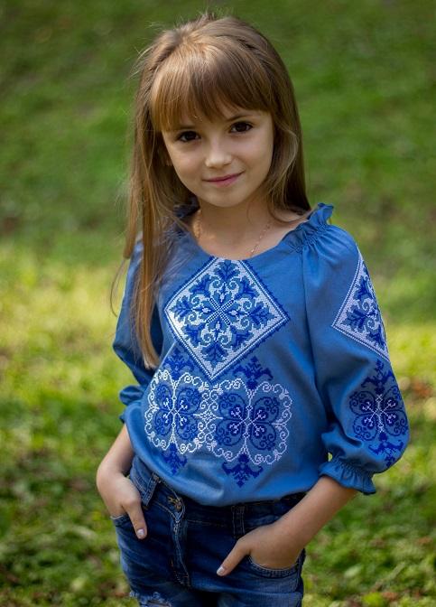 Вишиванка для дівчинки Говерла (синьо-біла) – купити в Україні від Галичанка фото 1