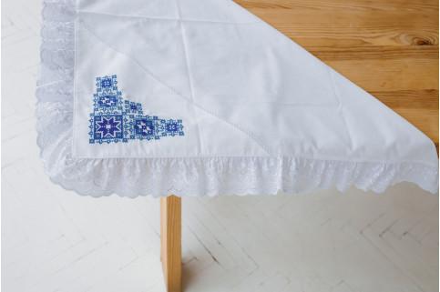 Купити скатертину в українському стилі Крижма Орнамент (біла з синім) від виробника Галичанка  фото 1