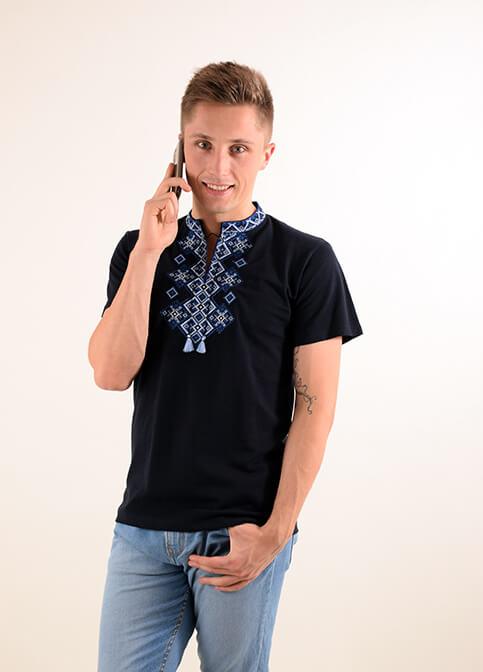 Купити чоловічу футболку вишиванку Бажан (чорна з синім ) в Україні від Галичанка фото 1