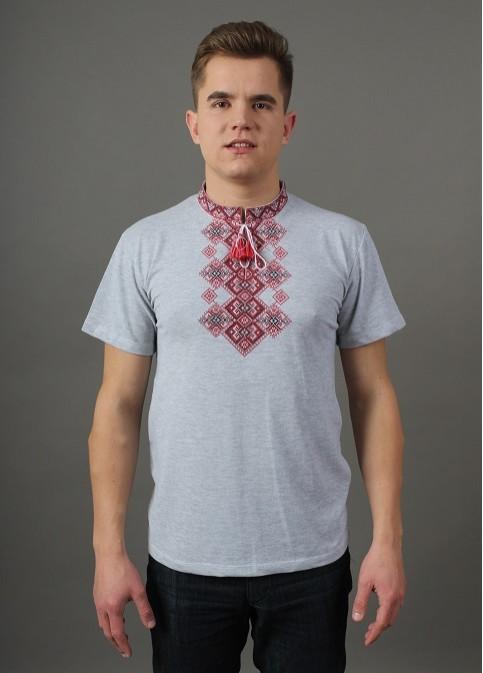 Купити чоловічу футболку вишиванку Бажан  ( сіра св.виш.червона)   в Україні від Галичанка фото 1