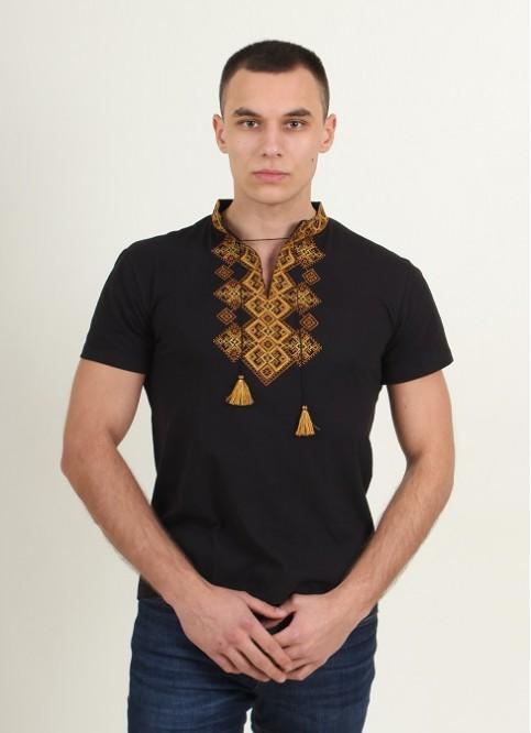 Купити чоловічу футболку вишиванку Бажан ( чорна з золотим )  в Україні від Галичанка фото 1