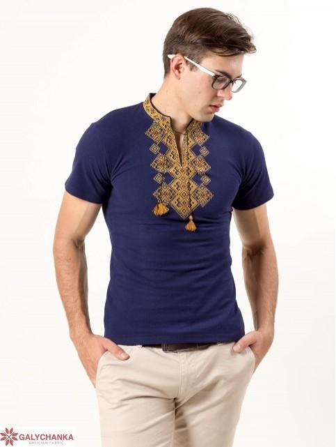 Купити чоловічу футболку вишиванку Бажан ( темно синій  з золотим ) в Україні від Галичанка фото 1