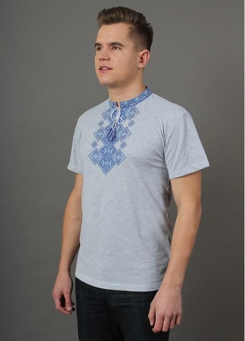 Купити чоловічу футболку вишиванку Бажан (сіра св. з синім)  в Україні від Галичанка фото 1