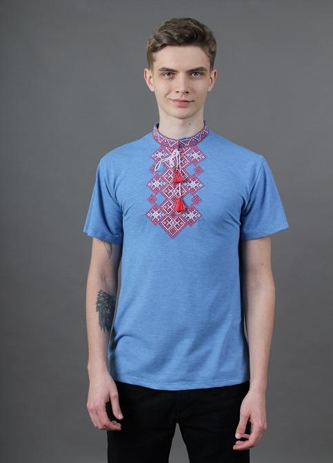 Купити чоловічу футболку вишиванку Бажан ( голубий з червоним) в Україні від Галичанка фото 1