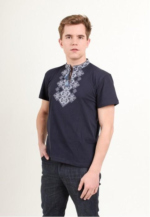 Купити чоловічу футболку вишиванку Бажан (темно  синя з сірим ) в Україні від Галичанка фото 1