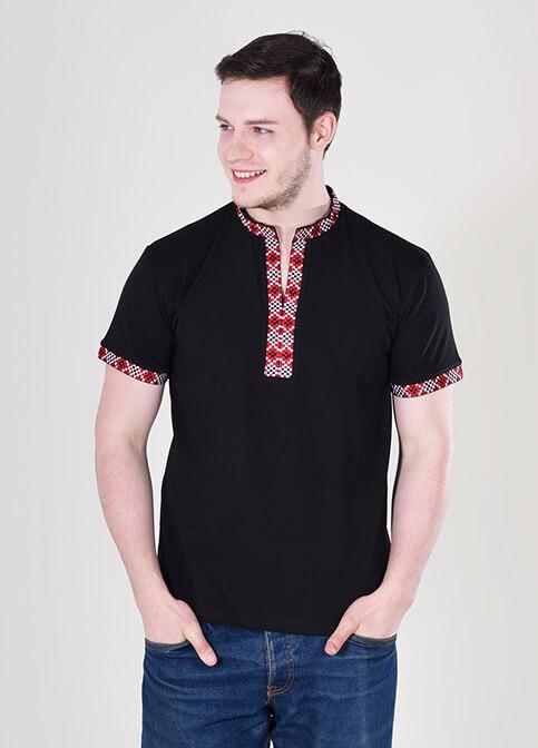 Купити чоловічу футболку вишиванку Богатир чорна ( з червоним ) в Україні від Галичанка фото 1