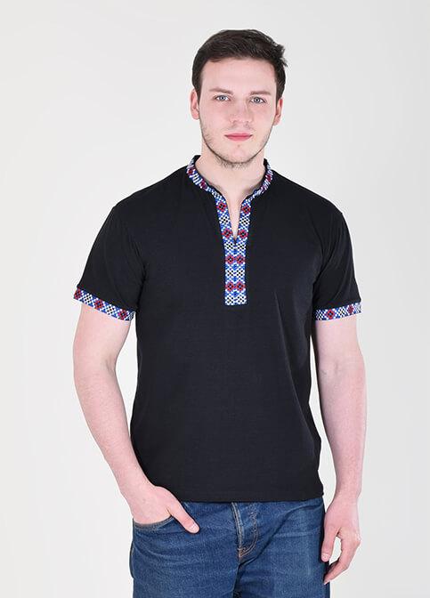 Купити чоловічу футболку вишиванку Богатир  чорна ( з синім) в Україні від Галичанка фото 1