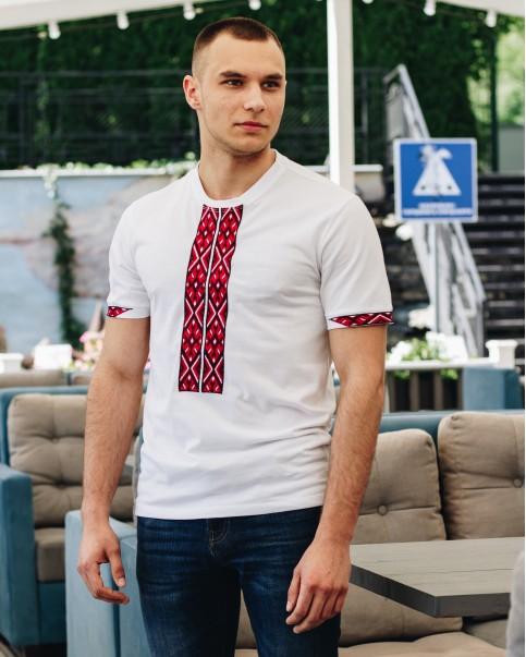 Купити чоловічу футболку вишиванку Фаворит (біла з червоним) в Україні від Галичанка фото 1